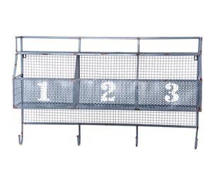 Colgador de pared en metal con 3 cestas - gris