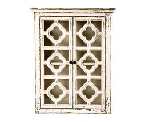Alacena en madera de abeto, hierro y cristal - blanco envejecido