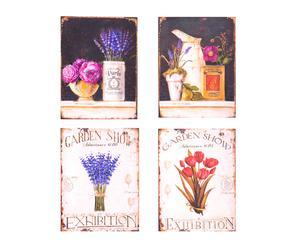 Set de 4 cuadros de DM y lienzo Tocador