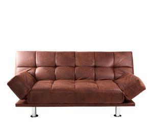 Sofá-cama en poliuretano y metal - marrón