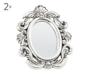 Set de 2 espejos de tocador enmarcados en resina - 19,5x24 cm