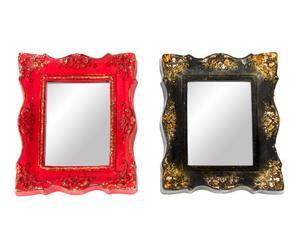 Set de 2 espejos de pared enmarcados en poliuretano - 25,5x30 cm