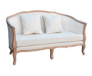 Sofá en madera de haya y lino - blanco y marrón