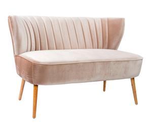 Sofá de 2 plazas en poliéster y madera DM - beige