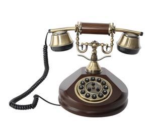 Teléfono decorativo en madera y plástico I - marrón y dorado