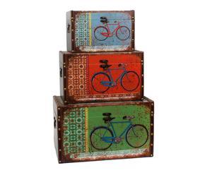 Set de 3 baúles en DM y poliuretano Bicicleta