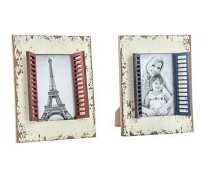 Set de 2 marcos de fotos de madera, blanco - 10x15 cm