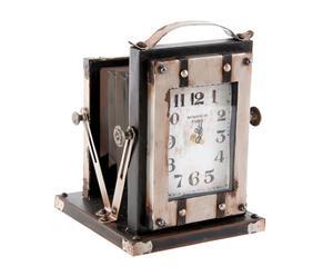 Reloj de sobremesa en hierro Cámara Vintage