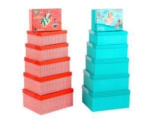 Set de 12 cajas de cartón Vintage Girl