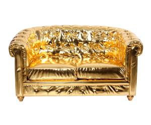 Sofá de piel sintética de 2 plazas Claudia - dorado