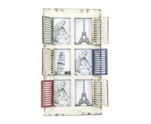 Portafotos múliple de madera y metal Ventana