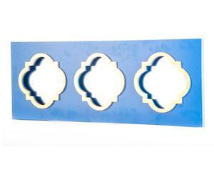Espejo triple de pared enmadera DM - azul y dorado