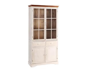 Alacena en madera de abeto con 4 puertas - blanco envejecido