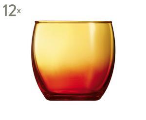 Set de 12 vasos bajos de cristal, rojo y naranja - 34 cl