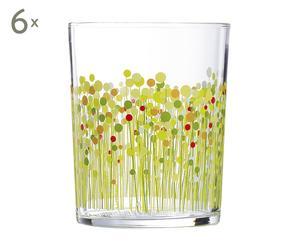 Set de 6 vasos bajos de cristal Flowerfild - 30 cl