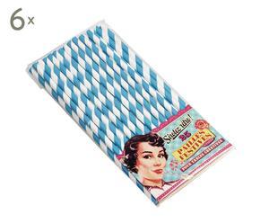 Set de 6 paquetes con 25 pajitas - azul y blanco