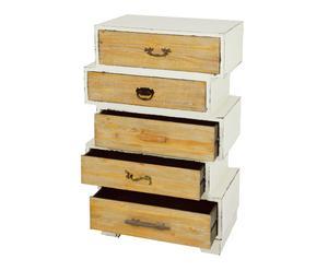 Cómoda en madera DM y pawlonia con 5 cajones