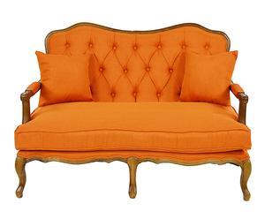 Sofá en DM y tapizado de algodón I - natural y naranja
