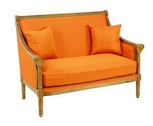 Sofá en DM y tapizado de algodón II - natural y naranja