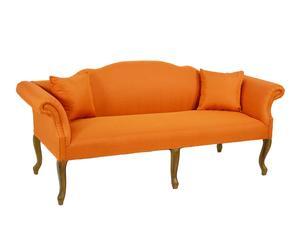 Sofá de 3 plazas en DM y tapizado de algodón - natural y naranja