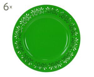 Set de 6 salvaplatos de resina, verde - Ø33 cm