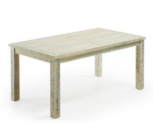 Mesa de comedor en madera de pino reciclada, gris claro – grande