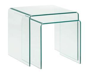Set de 2 mesas auxiliares de cristal templado Burano