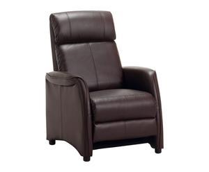Butaca reclinable en madera de pino y acero Easy – marrón oscuro
