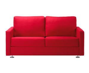 Sofá en madera, metal y poliéster Azores, rojo - 140 cm
