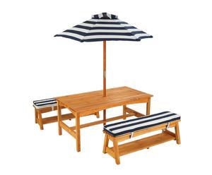 Set de mesa, bancos y sombrilla infantil para exterior