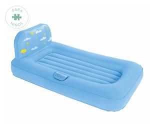 Cama hinchable infantil con proyector de figuras de luz, azul - 132x76 cm