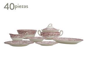 Vajilla Aurora 202, rosa – 40 piezas