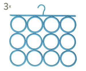 Set de 3 colgadores para pañuelos, fulares y corbatas – azul