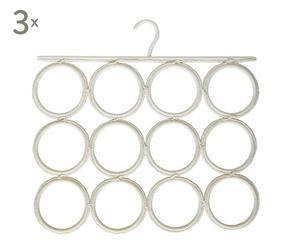 Set de 3 colgadores para pañuelos, fulares y corbatas – blanco