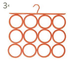 Set de 3 colgadores para pañuelos, fulares y corbatas – naranja