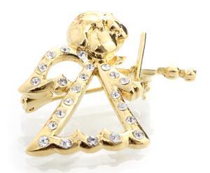 Broche de cristales de Swarovski Ángel - dorado