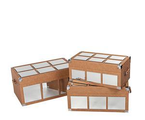 Set de 3 baúles espejo en madera y polipiel