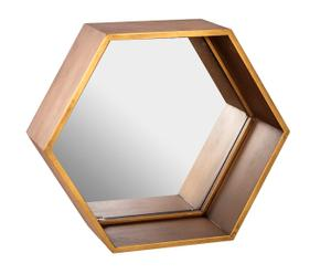 Espejo hexagonal con marco de DM - dorado