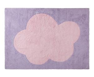 Alfombra hecha a mano en algodón Cloud, morado y rosa – 160x120cm