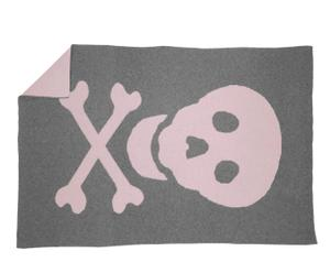 Mantita en lana Calavera, rosa – 180x120cm