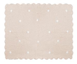 Mantita hecha a mano en algodón Crochet, beige – 120x90cm
