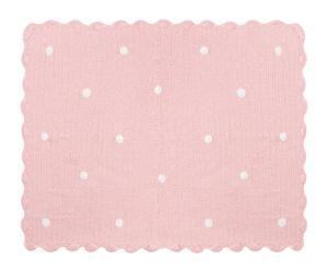 Mantita hecha a mano en algodón Crochet, rosa – 120x90cm