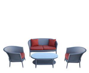 Set de 2 sillones, mesa de centro y sofá Florence – Gris y rojo