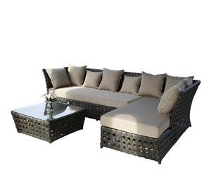 Set de sofá con chaise longue y mesa Tahiti – marrón y beige