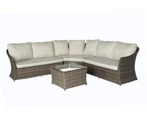 Set de mesa y sofá esquinero en aluminio y fibra sintética Arenal