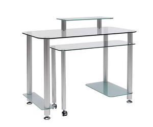 Mesa de escritorio con ruedas de cristal, aluminio y cromo Fly