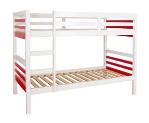 Litera con somier en DM Aimee, blanco y rojo – 200x100x149cm