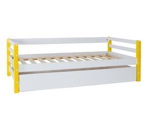 Cama nido con cajón y somier Winona, amarillo – 202x102x68cm