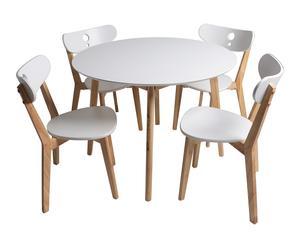 Set de mesa y 4 sillas en madera DM y de haya Emilia