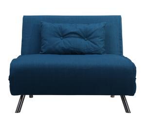 Sillón cama tapizado en tela - azul